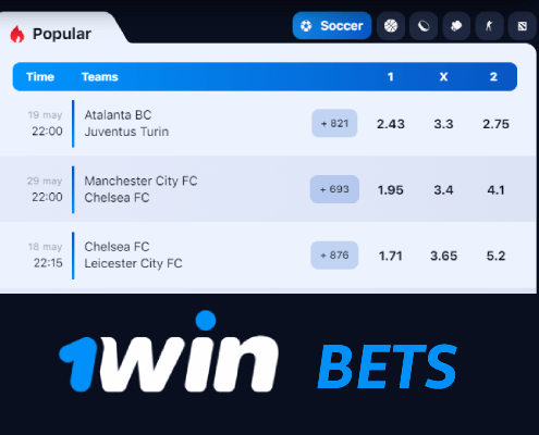 Place bets on sport events with 1win bookie