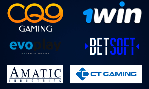 Which software providers power the 1win casino?
